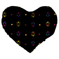 Abstract A Colorful Modern Illustration Black Background Large 19  Premium Heart Shape Cushions by Simbadda