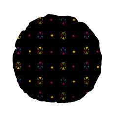 Abstract A Colorful Modern Illustration Black Background Standard 15  Premium Flano Round Cushions by Simbadda
