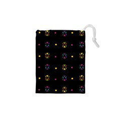Abstract A Colorful Modern Illustration Black Background Drawstring Pouches (xs)  by Simbadda