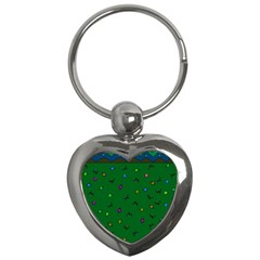 Green Abstract A Colorful Modern Illustration Key Chains (heart)  by Simbadda