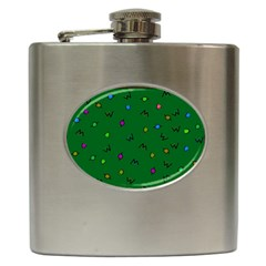 Green Abstract A Colorful Modern Illustration Hip Flask (6 Oz) by Simbadda