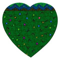 Green Abstract A Colorful Modern Illustration Jigsaw Puzzle (heart) by Simbadda