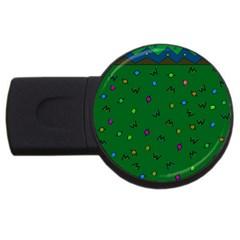 Green Abstract A Colorful Modern Illustration Usb Flash Drive Round (4 Gb) by Simbadda