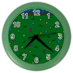 Green Abstract A Colorful Modern Illustration Color Wall Clocks by Simbadda