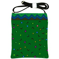 Green Abstract A Colorful Modern Illustration Shoulder Sling Bags by Simbadda