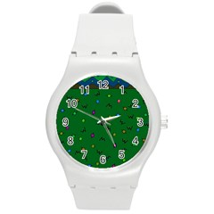 Green Abstract A Colorful Modern Illustration Round Plastic Sport Watch (m) by Simbadda