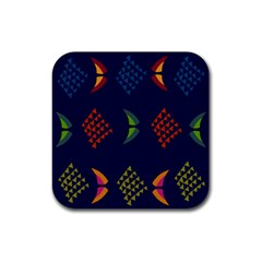 Abstract A Colorful Modern Illustration Rubber Square Coaster (4 Pack)  by Simbadda