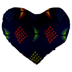 Abstract A Colorful Modern Illustration Large 19  Premium Heart Shape Cushions by Simbadda