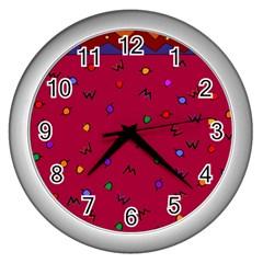 Red Abstract A Colorful Modern Illustration Wall Clocks (silver)  by Simbadda