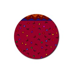 Red Abstract A Colorful Modern Illustration Rubber Coaster (round)  by Simbadda