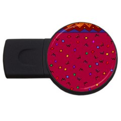 Red Abstract A Colorful Modern Illustration Usb Flash Drive Round (2 Gb)