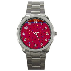 Red Abstract A Colorful Modern Illustration Sport Metal Watch by Simbadda