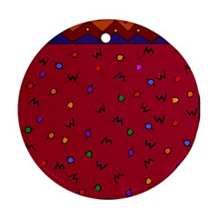 Red Abstract A Colorful Modern Illustration Round Ornament (two Sides) by Simbadda