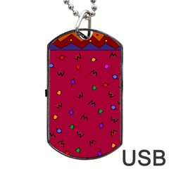 Red Abstract A Colorful Modern Illustration Dog Tag Usb Flash (one Side) by Simbadda