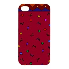 Red Abstract A Colorful Modern Illustration Apple Iphone 4/4s Premium Hardshell Case by Simbadda