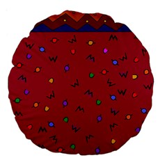 Red Abstract A Colorful Modern Illustration Large 18  Premium Flano Round Cushions by Simbadda