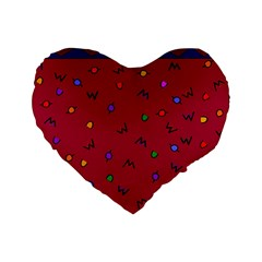 Red Abstract A Colorful Modern Illustration Standard 16  Premium Flano Heart Shape Cushions by Simbadda