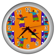 A Colorful Modern Illustration For Lovers Wall Clocks (silver)  by Simbadda