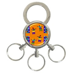 A Colorful Modern Illustration For Lovers 3 Ring Key Chains by Simbadda
