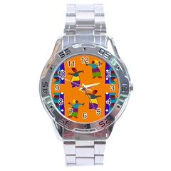 A Colorful Modern Illustration For Lovers Stainless Steel Analogue Watch by Simbadda