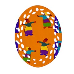 A Colorful Modern Illustration For Lovers Oval Filigree Ornament (two Sides) by Simbadda