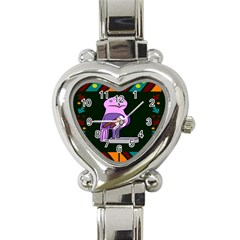 Owl A Colorful Modern Illustration For Lovers Heart Italian Charm Watch by Simbadda