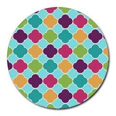 Colorful Quatrefoil Pattern Wallpaper Background Design Round Mousepads by Simbadda
