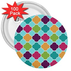 Colorful Quatrefoil Pattern Wallpaper Background Design 3  Buttons (100 Pack)  by Simbadda