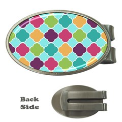 Colorful Quatrefoil Pattern Wallpaper Background Design Money Clips (oval)  by Simbadda