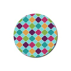 Colorful Quatrefoil Pattern Wallpaper Background Design Rubber Round Coaster (4 Pack)