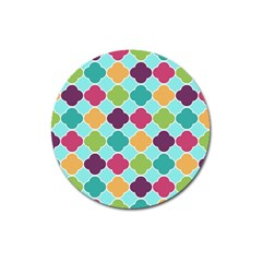 Colorful Quatrefoil Pattern Wallpaper Background Design Magnet 3  (round) by Simbadda