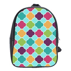 Colorful Quatrefoil Pattern Wallpaper Background Design School Bags (xl)  by Simbadda