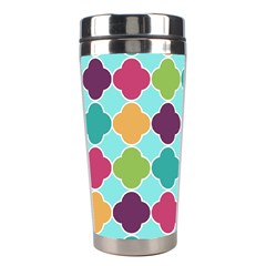 Colorful Quatrefoil Pattern Wallpaper Background Design Stainless Steel Travel Tumblers by Simbadda