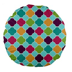 Colorful Quatrefoil Pattern Wallpaper Background Design Large 18  Premium Flano Round Cushions by Simbadda