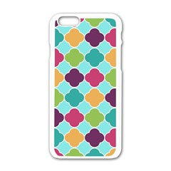 Colorful Quatrefoil Pattern Wallpaper Background Design Apple Iphone 6/6s White Enamel Case by Simbadda