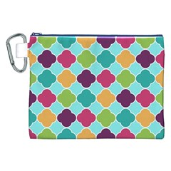 Colorful Quatrefoil Pattern Wallpaper Background Design Canvas Cosmetic Bag (xxl) by Simbadda