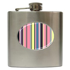 Seamless Colorful Stripes Pattern Background Wallpaper Hip Flask (6 Oz) by Simbadda