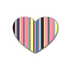 Seamless Colorful Stripes Pattern Background Wallpaper Heart Coaster (4 Pack)  by Simbadda