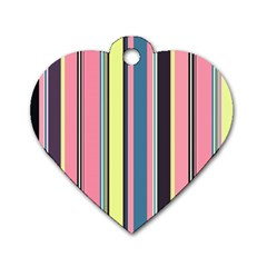 Seamless Colorful Stripes Pattern Background Wallpaper Dog Tag Heart (one Side) by Simbadda