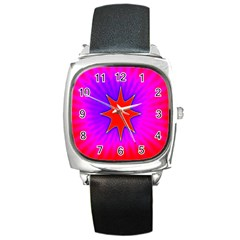 Pink Digital Computer Graphic Square Metal Watch by Simbadda