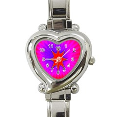 Pink Digital Computer Graphic Heart Italian Charm Watch by Simbadda
