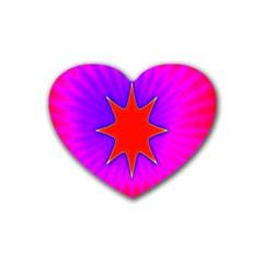 Pink Digital Computer Graphic Rubber Coaster (heart)  by Simbadda