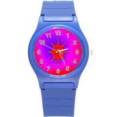 Pink Digital Computer Graphic Round Plastic Sport Watch (s) by Simbadda
