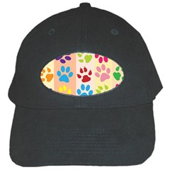 Colorful Animal Paw Prints Background Black Cap by Simbadda