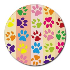 Colorful Animal Paw Prints Background Round Mousepads by Simbadda