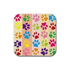 Colorful Animal Paw Prints Background Rubber Square Coaster (4 Pack)  by Simbadda