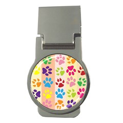 Colorful Animal Paw Prints Background Money Clips (round)  by Simbadda