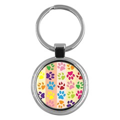 Colorful Animal Paw Prints Background Key Chains (round)  by Simbadda