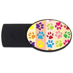Colorful Animal Paw Prints Background Usb Flash Drive Oval (4 Gb) by Simbadda