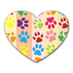 Colorful Animal Paw Prints Background Heart Mousepads by Simbadda